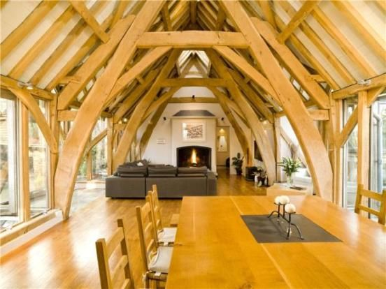 Love the neutral colours setting off the oak