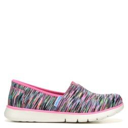 Shell change up her look and comfort in the Pure Flex Slip On Sneaker from Skechers.Soft smooth stretch knit fabric upper in a casual slip on sneaker style with a round toeStretch fabric collar trim and top elastic fabric panel for easy slip on entryStitching accentsAll over colorful print designDiagonal stitched seam, stitching trim, and collar trim detailSoft fabric lining, Memory Foam cushioned comfort insoleShock absorbing flexible lightweight midsoleFlexible rubber traction outsole