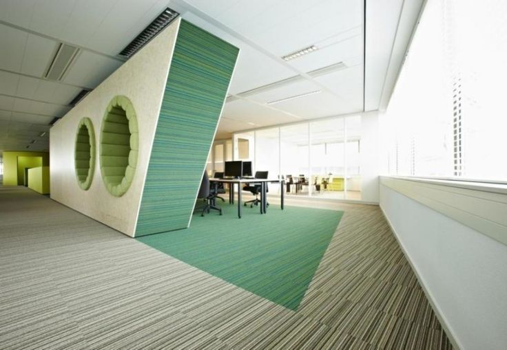 Very futuristic layout here with some innovative features for Contemporary office interior design