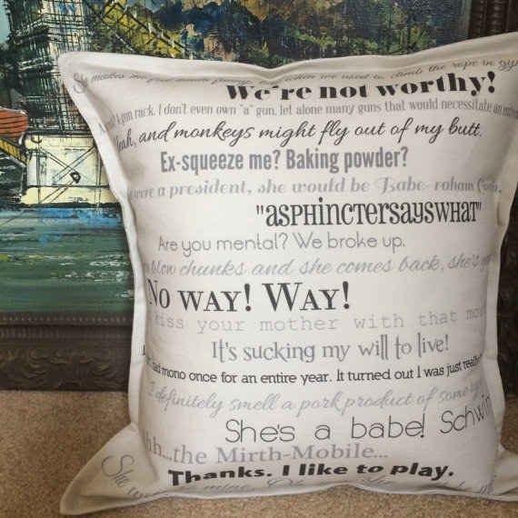 A Pillow With Awesome Wayne's World Quotes