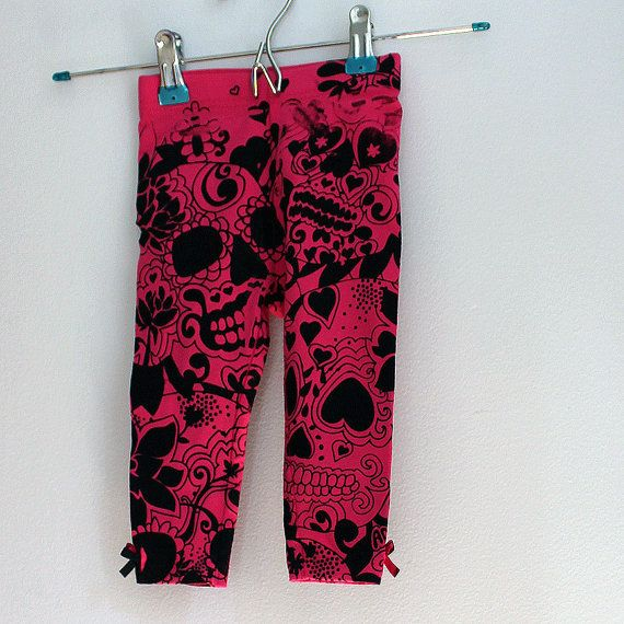 Rocker Baby Pink Leggings with Day of the Dead by MadLoveShop, $15.00