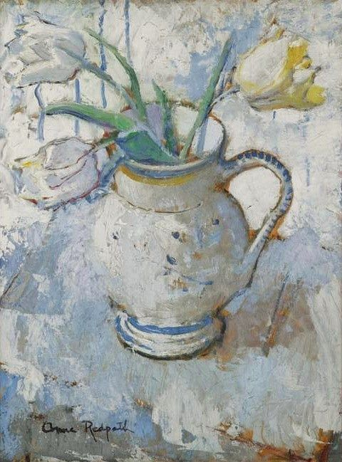 """White and Yellow Tulips in a Blue and White Jug"" (Finais dos anos 30) - Pintura da pintora britânica Anne Redpath  (1895-1965)"