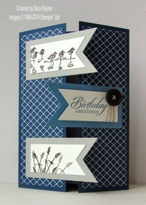 handmade birthday card ... wetlands birds and grasses ... gatefold card with banner three banners on alternating sides .. blues ... great card! ... StampinUp!