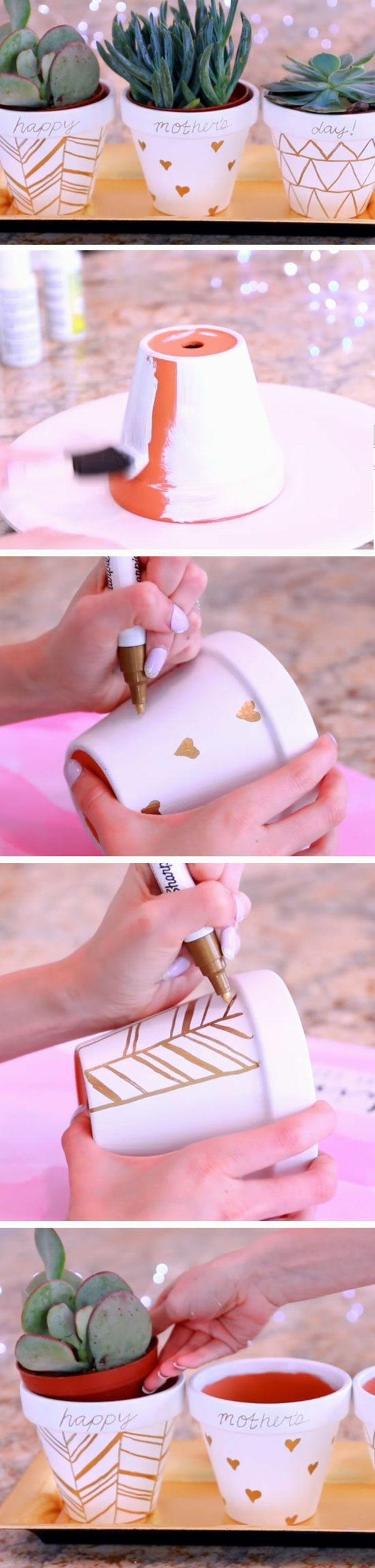 Cadeau pour la fete des meres, cache pot repeint en blanc et customisé au feutre doré, dessins simples, tutoriel pot de fleurs diy  ♥️ #epinglercpartager