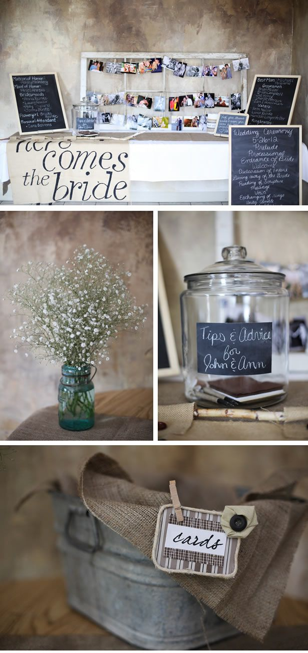Love the rustic look of the table with the painted cloth and chalkboard signs. Love the family photos pinned to the old window frame as a decoration!