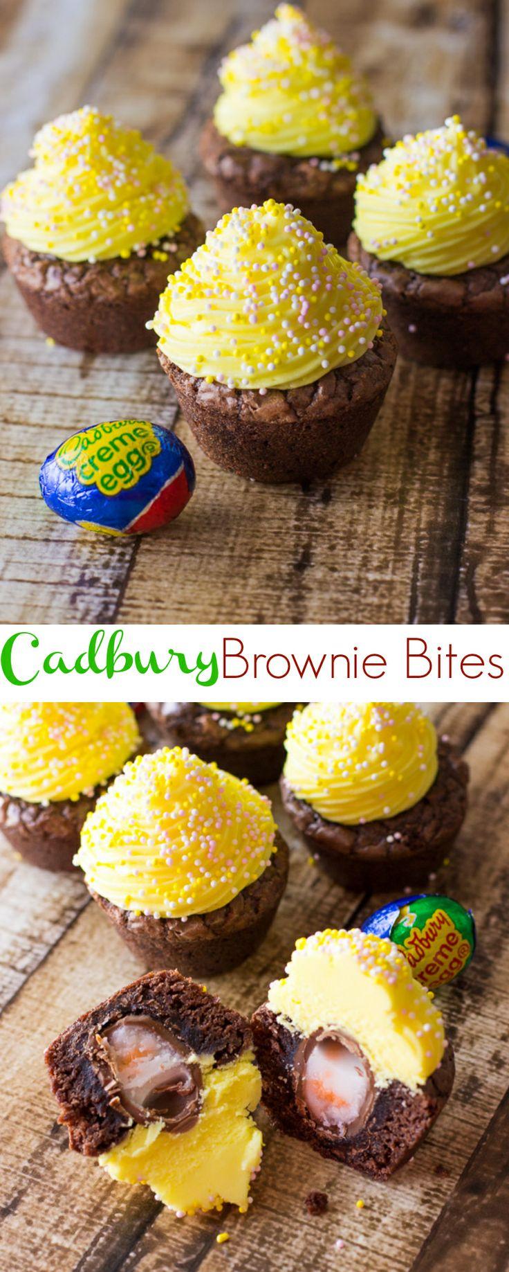 Cadbury Creme Egg Brownie Bites at deliciouslysprinkled.com