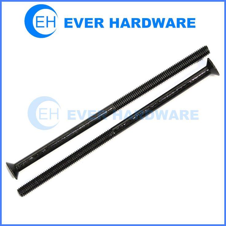 Long countersunk bolt black plating partial threaded flat head screw