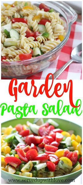 Garden Pasta Salad recipe from Served Up With Love. A great way to use up all those fresh veggies from the garden. www.servedupwithlove.com
