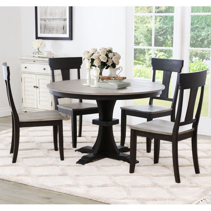 Clark Solid Wood Dining Table In 2020 Solid Wood Dining Table Farmhouse Dining Chairs Farmhouse Round Dining Table