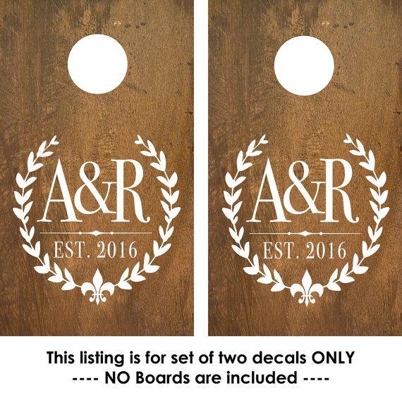 Cornhole Decal | Corn Hole Decal | Monogram Decal with Fleur De Lis | CornHole Board | Cornhole decal wedding | rustic wedding decor