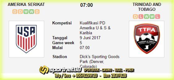 Prediksi Skor Bola Amerika Serikat vs Trinidad and Tobago 9 Jun 2017 Kualifikasi PD Amerika U & S & Karibia di Dick's Sporting Goods Park pada hari Jumat jam 07:00 live di Fox Sports 1