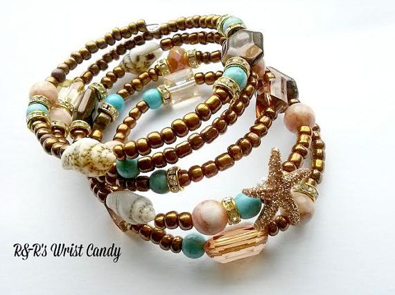 Beach Babe Beaded Coil Bracelet by RandRsWristCandy on Etsy, $12.00
