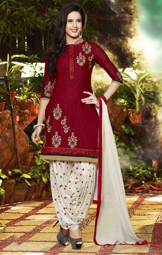 $26.90 Red Cotton Punjabi Suit 56206