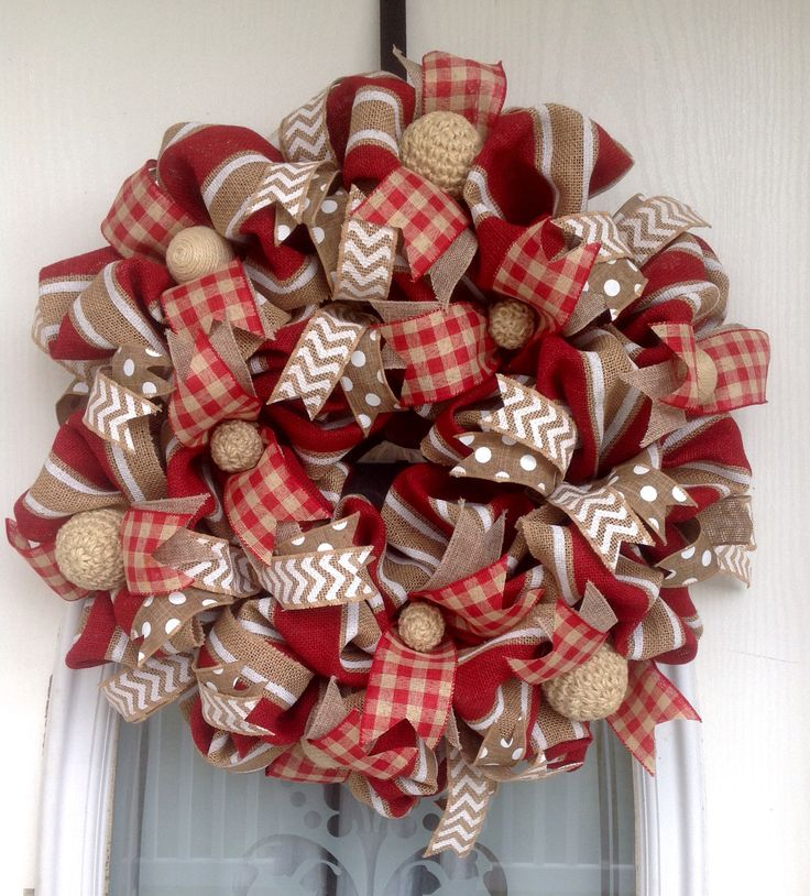 """22"""" Red/Tan/White Burlap Wreath with Yarn Balls and Various Ribbons"""