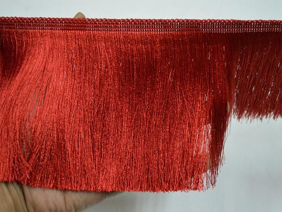 5'' Wholesale Red Brush Fringe Trim by 9 Yard Indian Bohemian Boho fringe trim Crafting Sewing ethnic fringed ribbon Clothing Accessories 11