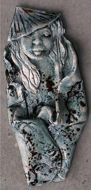 polymer clay wall art | Asian Wall sculpture CLAY - by Deborah Sprague from Ceramics Raku Art ...