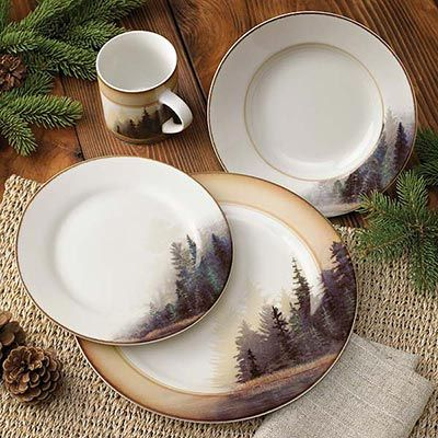 I want love these moose+dinnerware+set | ... Rustic Cabin & Lodge Dinnerware » Misty Forest 16 Piece Dinnerware