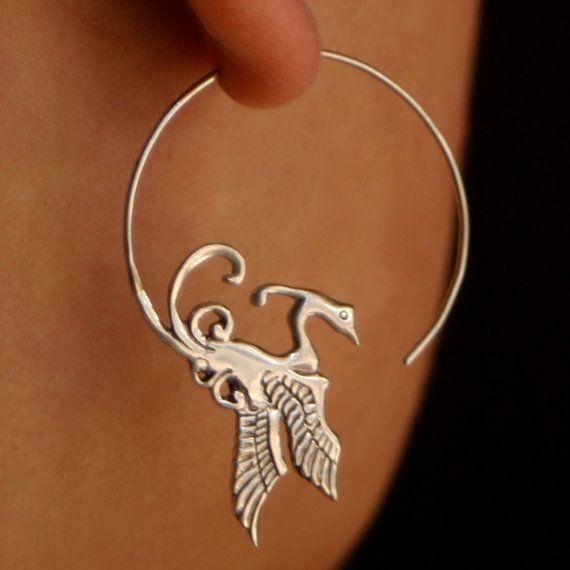 Phoenix hoop earrings: Clothing, Earrings Phoenix, Sterling Silver, Phoenix Hoops, Earrings Silver, 44 00