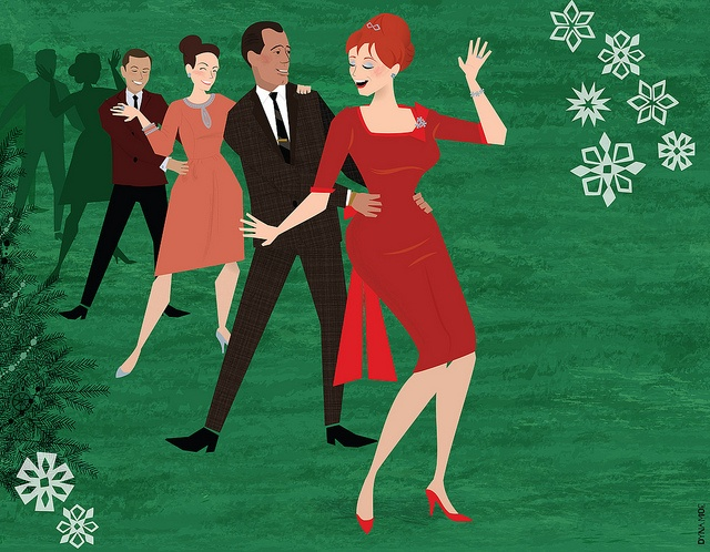 Illustration - Joan in a holiday party conga line #MadMen