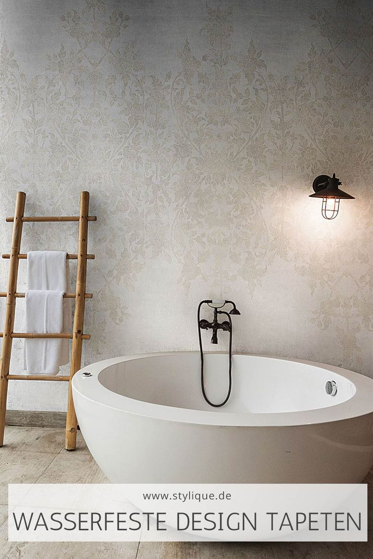 Badezimmer Tapete mit dezentem Blumenmuster   Bathroom collections ...