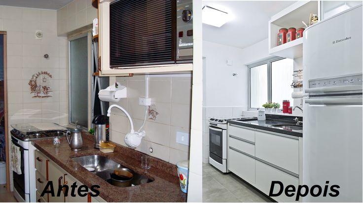 Reforma de Cozinha em apartamento. Na primeira imagem mostra a situação Antes da Reforma e na segunda,como ficou após o projeto de Reforma.
