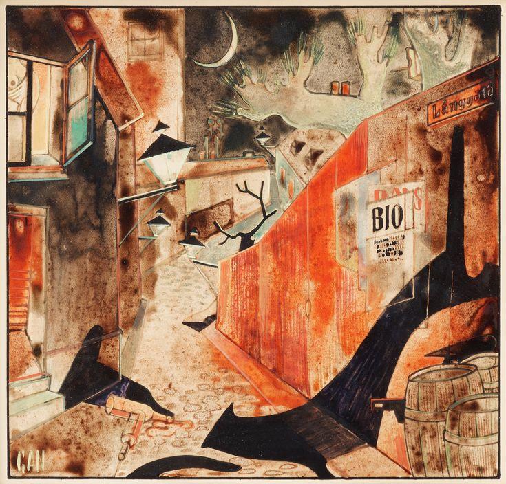 """Gösta Adrian-Nilsson a.k.a. GAN (Swedish, 1884-1965) - """"Följetong"""" (Serial), 1928 - Watercolor"""