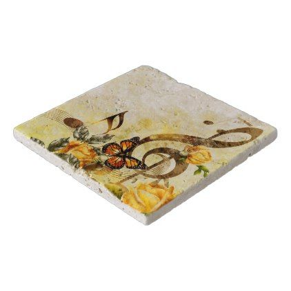 Butterfly Music Notes Stone Trivets - classic gifts gift ideas diy custom unique