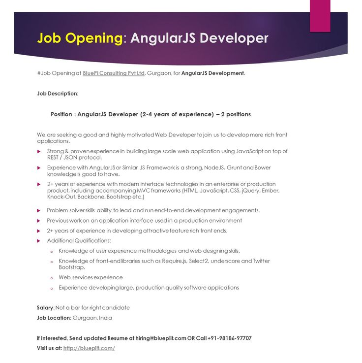 angularjs developer 2 years of experience job location gurgaon send your updated resume at hiringbluepiitcom or call 91 pinteres