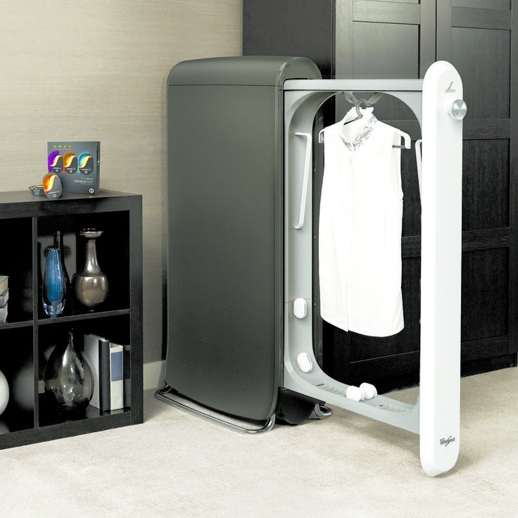 The innovative SWASH Express Clothing Care System de-wrinkles, refreshes, and restores clothes at home. Simply place clothing inside, insert a SWASH PODS™ cup and press start. Your clothes will be fresh and ready to wear in just 10 minutes.