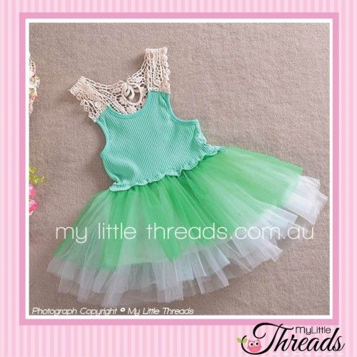 Green Pixie Dress Floral bodice with a blue bow detail and tulle skirt. Perfect for a day out at the park or running around the house causing mischief.