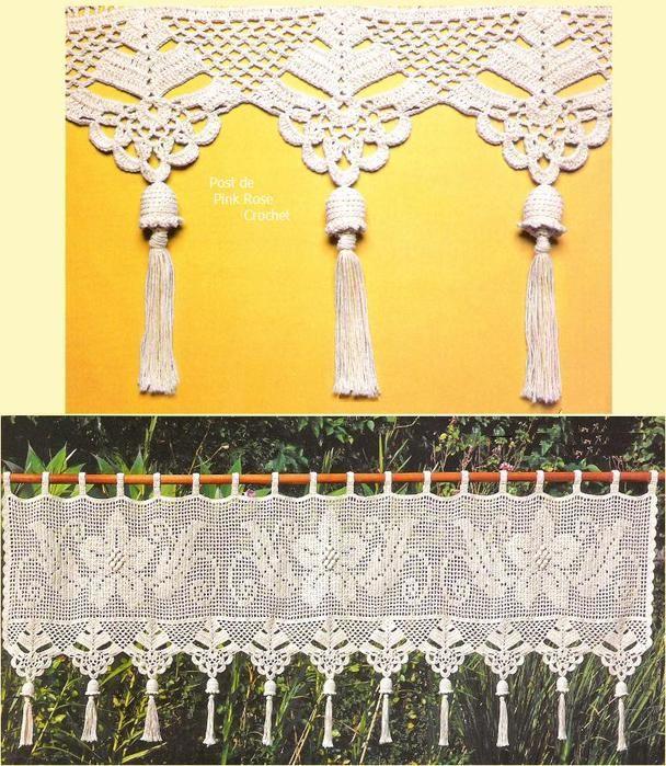 unusual filet crochet | Amazon.com: Unique hand crochet lace White Cafe Curtain/Valance