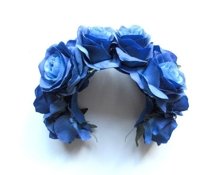 Deluxe Sky Blue Rose Headband. By Tigerpunk