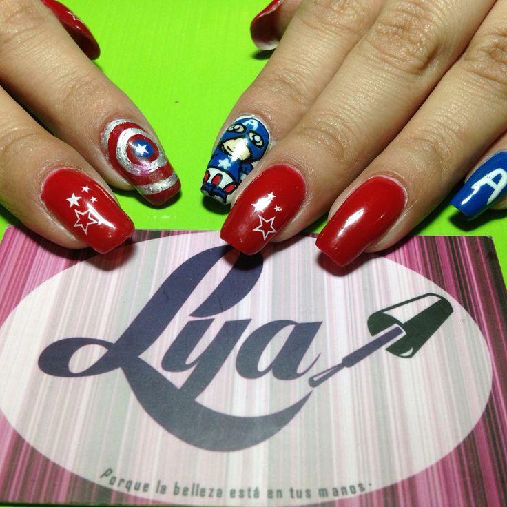 Decoración de uñas gelish. Decorado de uñas artístico. capitán América. #gelish #GelishNails #girls #uñas #fashion #lyabelleza #lya #nails #nailart #decoracionuñas #estilo #moda #avengers #capitanamerica