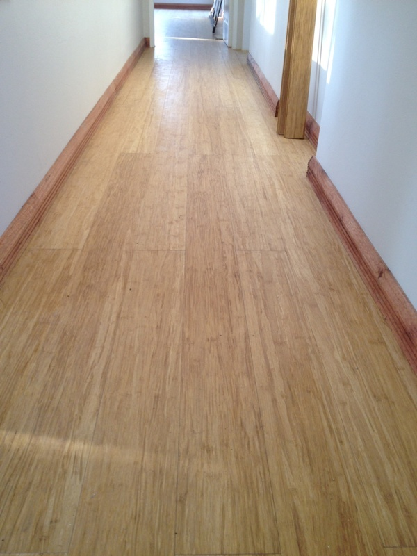 Bamboo flooring with meranti skirtings.
