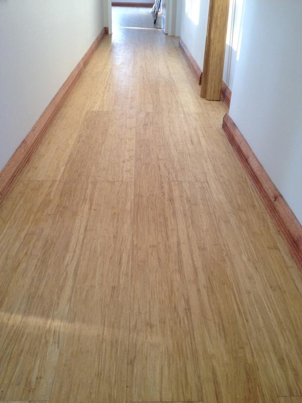Bamboo flooring with meranti skirtings.