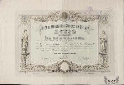 Muzeum cennych papiru A1728 Zipser VII Bergstädter Sparkassa in Gölnitz 1872