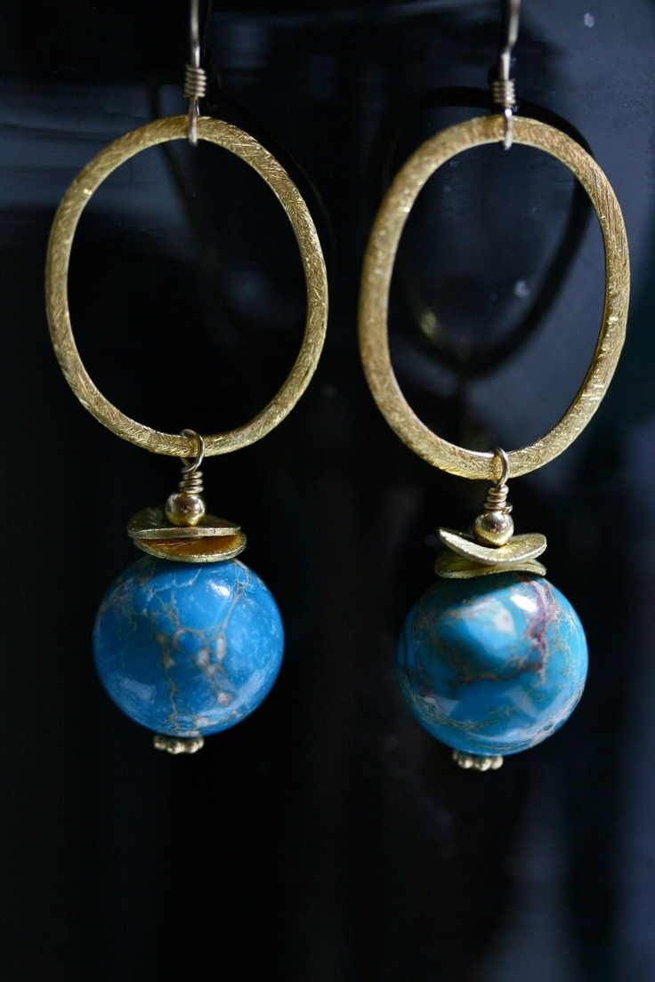 14ct gold-filled earrings with vermeil brushed link, discs and blue terrain jasper. via Lisa Dora Jewellery. Click on the image to see more!