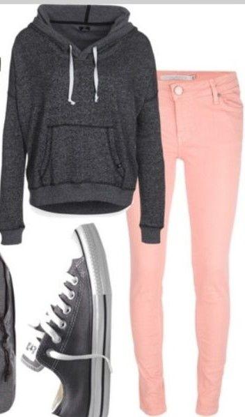 love this outfit.. converses, hoodie, pink skinnies (: