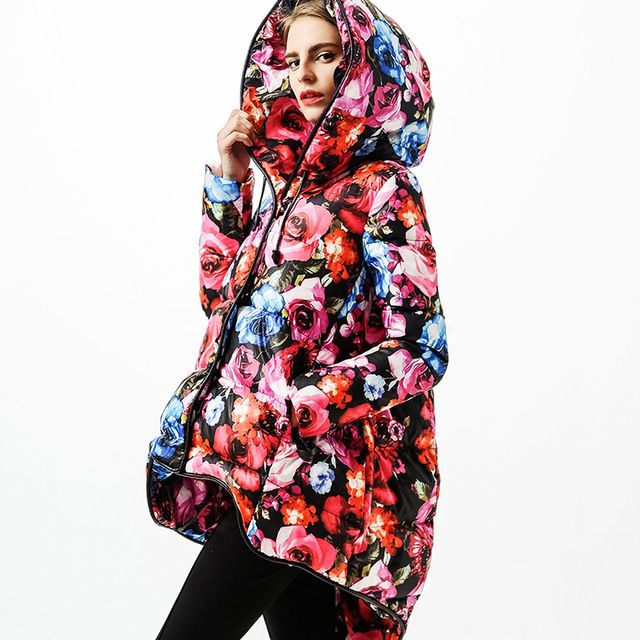 2014 Winter Fashion Women's Plus Size Down Coat Print Gorgeous Rose Irregular Jacket w1870 US $159.98 To Buy Or See Another Product Click On This Link  http://goo.gl/yekAoR