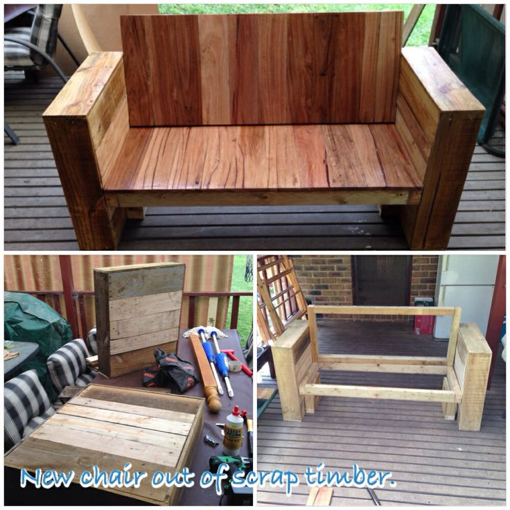 Outdoor chair built from left over floorboards and pallet timber.