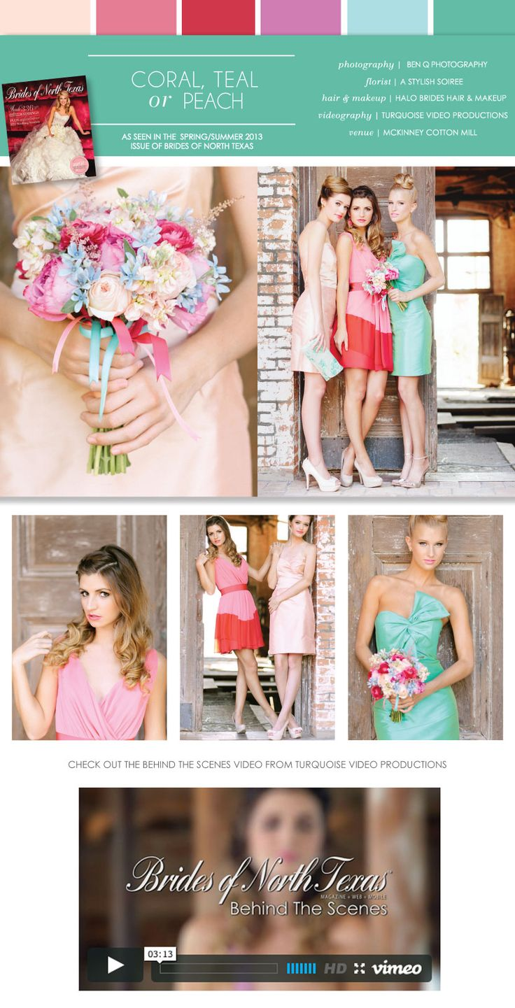 soft peach, coral, red and teal