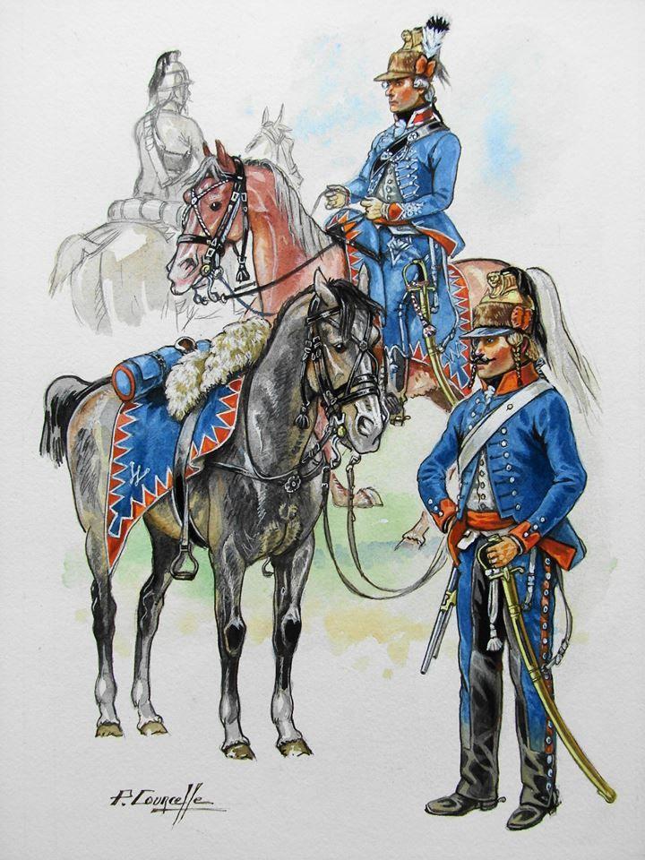 Dutch; Chasseurs à cheval de la Légion de Béon, a French Royaist unit that took service with Holland.