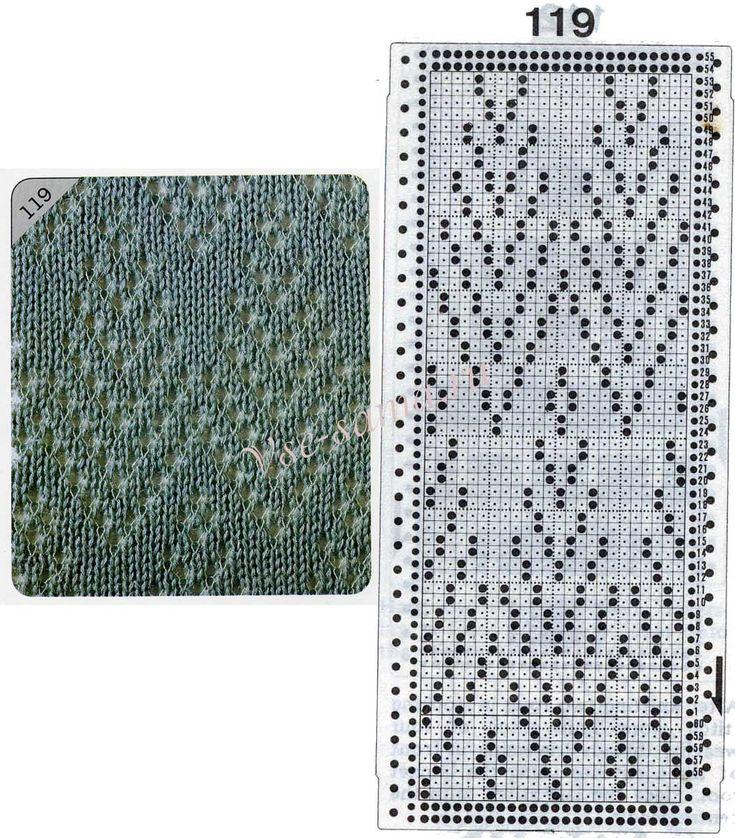 Узор 119 - Ложный ажур и перфокарта для вязальной машины Brother