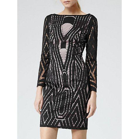 Buy Reiss Graphic Lace Kaz Dress, Black/Neutral Online at johnlewis.com