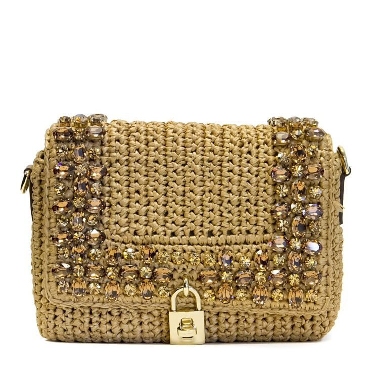 Dolce e Gabbana Jewel raffia crochet shoulder bag | RAILSO.COM