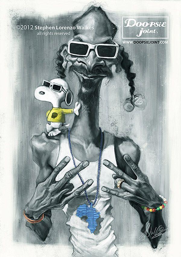 Caricatura de Snoop Dogg y Snoopy.