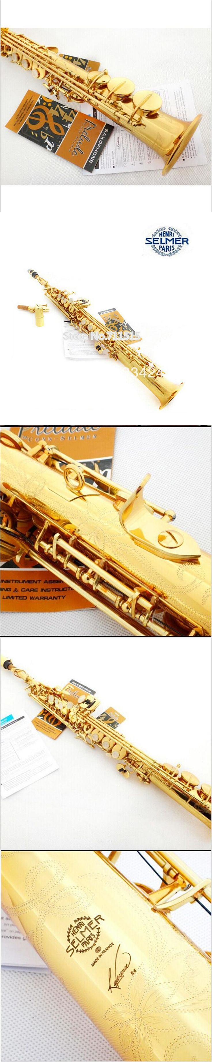 SSS-54 Brand Selmer Saxophone Soprano Sax Selmer B(B) Gold Lacquer Brass Carve Pattern Soprano Saxofone