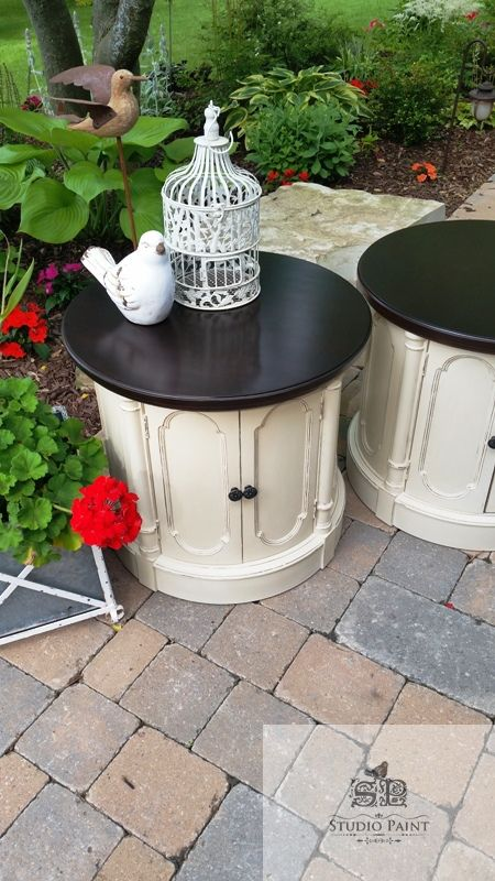 "Refinished Drum End Tables ""Glenayr"" - $425 - Studio Paint"