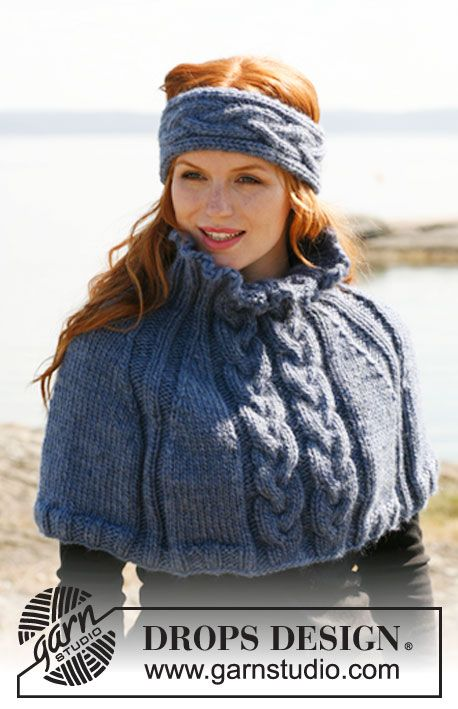 Ice Princess knitted cabled headband and ponchette, free pattern from Garnstudio
