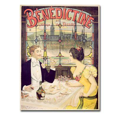 "Trademark Art ""Benedictine, 1898"" by Lucas Silva Vintage Advertisement on Canvas Size: 32"" H x 24"" W x 2"" D"